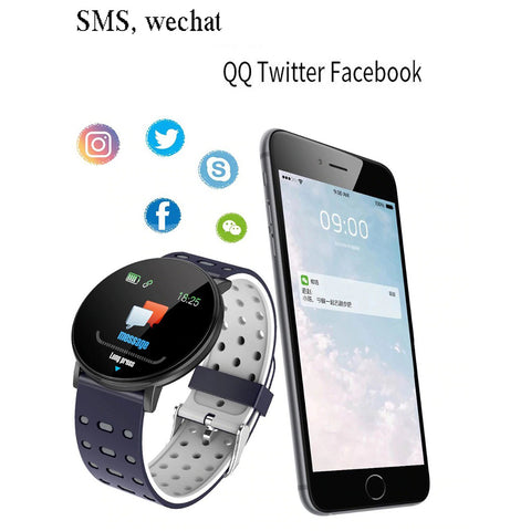 119 Plus Smart Bracelet Alarm Clock Heart Rate Smart Watch Wristband Sports Watches Band IP67 Waterproof Smartwatch Android - RHIZMALL.PK Online Shopping Store.
