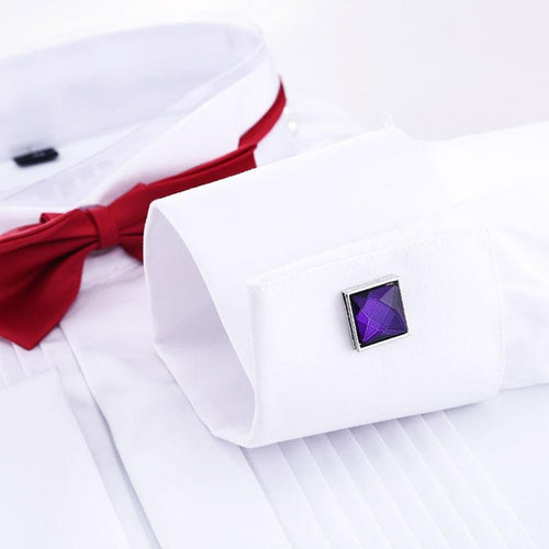 Silver Square Purple Fashion Cufflinks with Free Gift Packaging - RHIZMALL.PK Online Shopping Store.