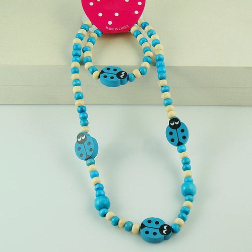 Diana Blue Beetle Necklace and Bracelet
