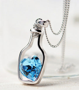 Drift Bottles Heart Crystal Pendant - RHIZMALL.PK Online Shopping Store.