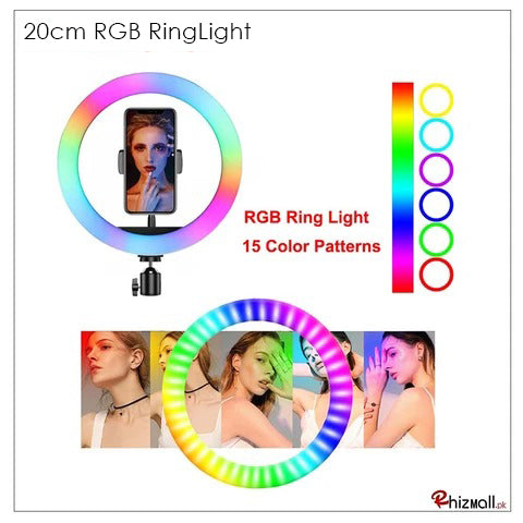RGB LED Multi Colors Ring Light With and Without Tripod Stand