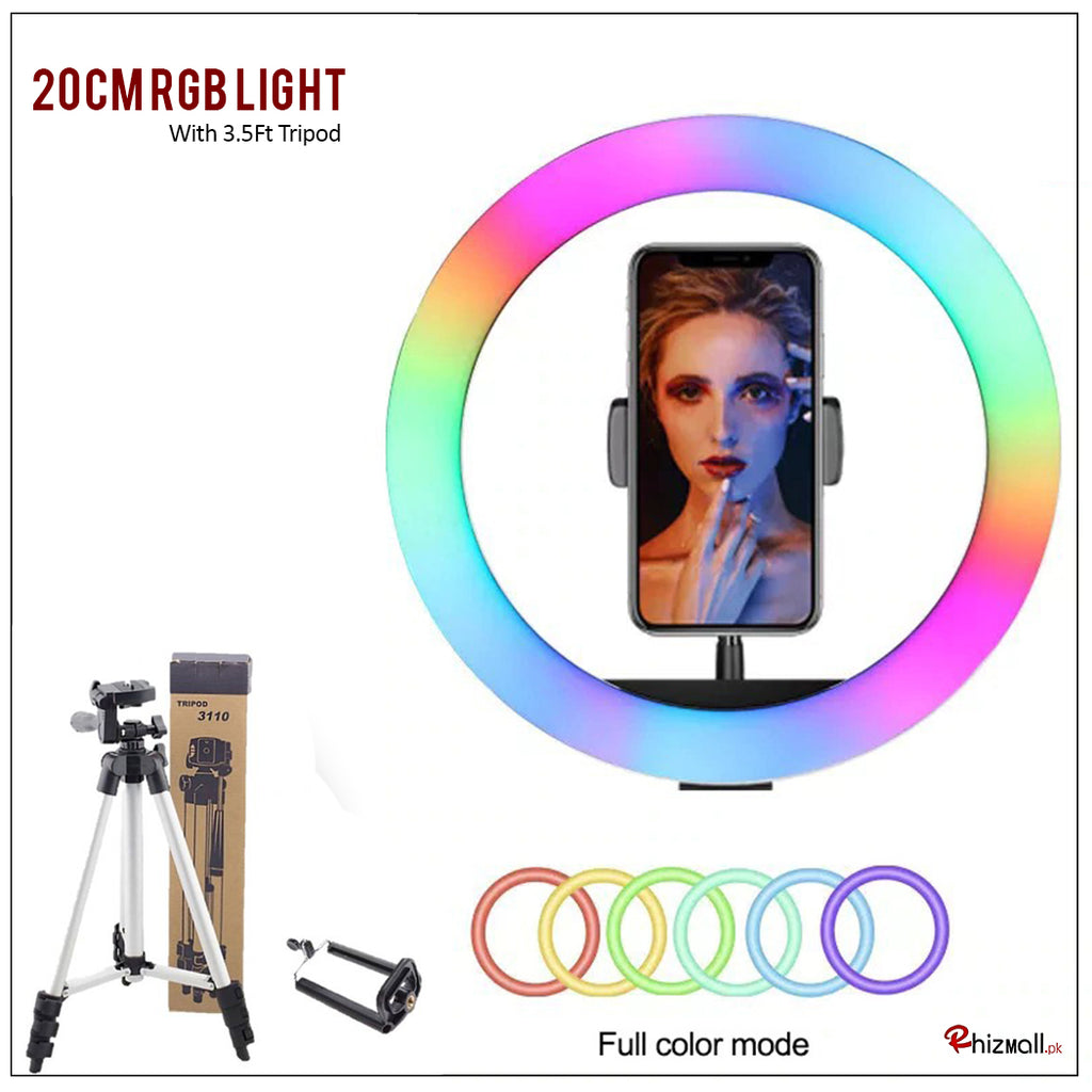 RGB LED Multi Colors Ring Light With Tripod Stand