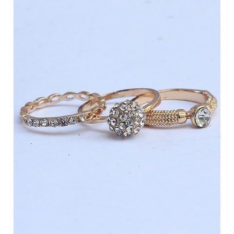 Pack of 3 - Golden Metal Vitorre Ring - RHIZMALL.PK Online Shopping Store.