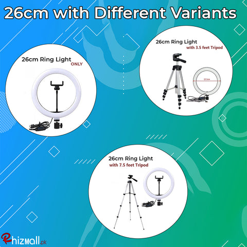 26cm Selfie Ring Light with and without Tripod Stand for Live Stream