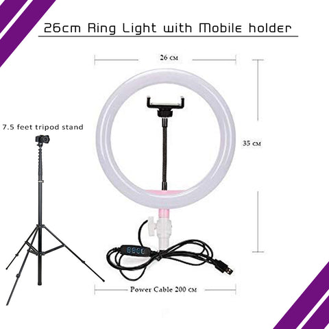 26cm Selfie Ring Light with Tripod Stand  for Live Stream Circle Lighting Ringlights - RHIZMALL.PK Online Shopping Store.
