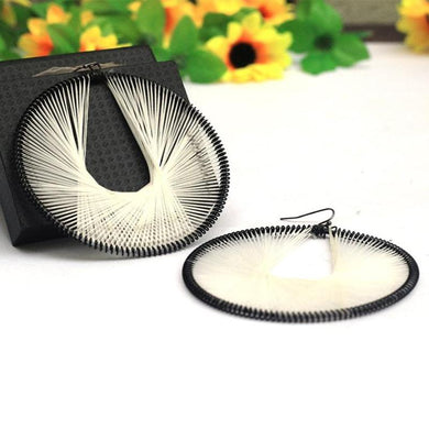 Black & White Beneta Thread Stylish Oval Earring - RHIZMALL.PK Online Shopping Store.