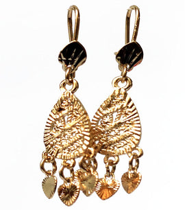 Triple Heart Drop Golden Earrings - RHIZMALL.PK Online Shopping Store.