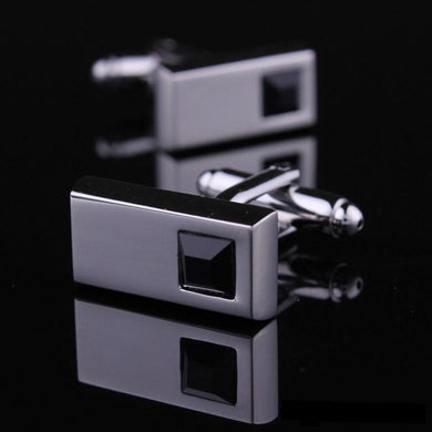Black Montblanc Crystal Glass French Style Cufflinks with Free Gift Packaging - RHIZMALL.PK Online Shopping Store.