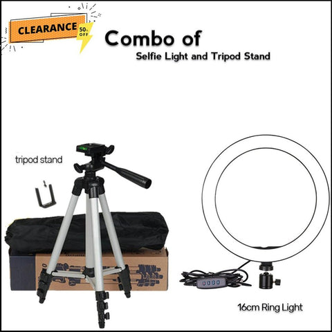 Combos of selfie ring light with Tripod Stand - RHIZMALL.PK Online Shopping Store.