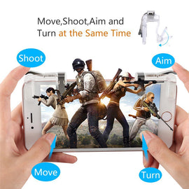 K01 White Mobile Gaming Fire Button Trigger L1 R1 Shooter - RHIZMALL.PK Online Shopping Store.