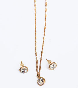 Golden Round Zircon Crystal Jewellery Set - RHIZMALL.PK Online Shopping Store.