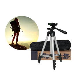 3110 - Tripod Stand For Dslr Camera With Mobile Holder - Black & Silver - RHIZMALL.PK Online Shopping Store.