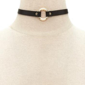 Luna Round Leather Choker