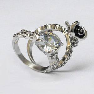 Pair of 2 - Silver Rose + Crystal Beauty & the Beast Ring - RHIZMALL.PK Online Shopping Store.