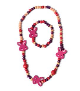 Multicolour Rabbit Wooden Beads Necklace and Bracelet - RHIZMALL.PK Online Shopping Store.