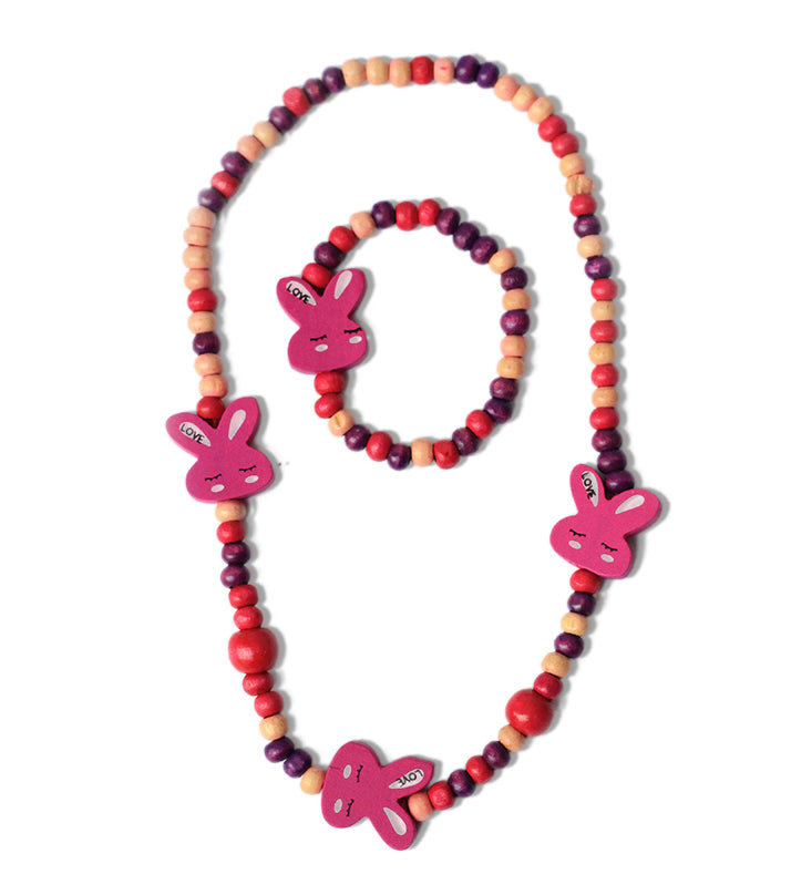Multicolour Rabbit Wooden Beads Necklace and Bracelet