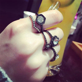 Matte Black Rhinestone Multi Shape Rings - RHIZMALL.PK Online Shopping Store.