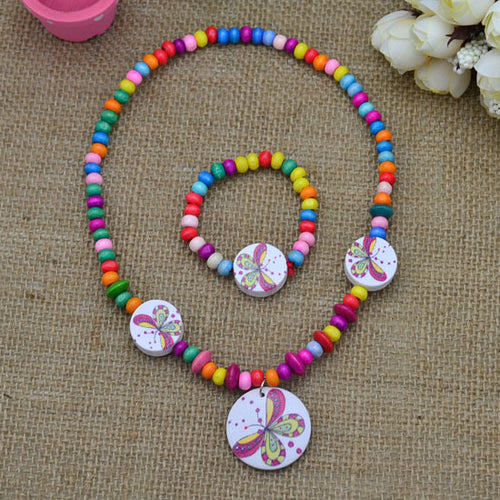 FaeryDae Multicolor Butterfly Circle Necklace and Bracelet