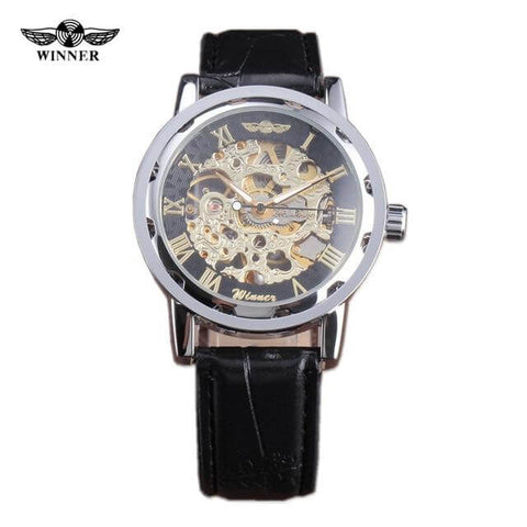 Automatic Mechanical Hand-wind Leather Skeleton Military Watch - RHIZMALL.PK Online Shopping Store.