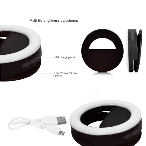 Black Selfie Ring Light for Any Cell Phone - RHIZMALL.PK Online Shopping Store.
