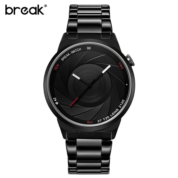 BREAK Camera Style High Quality Steel Wire Brush Water Resistent Watch