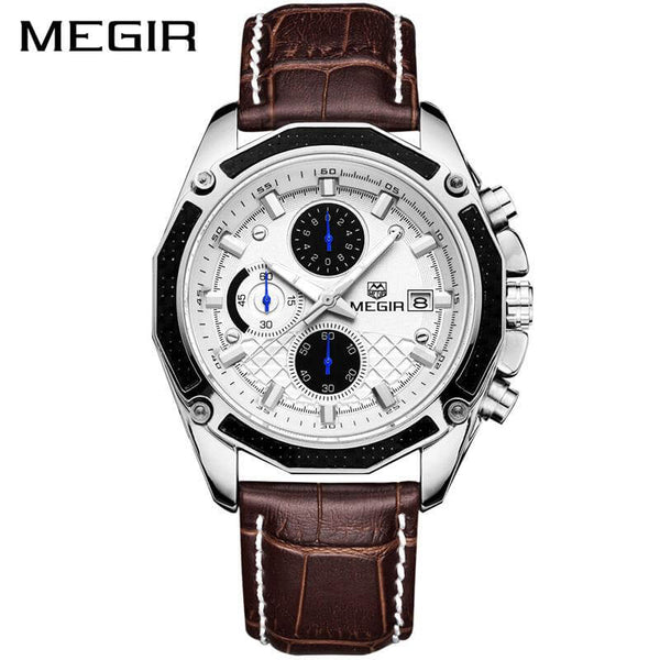 Megir Genuine Leather Chronograph Watch with free Packing Gift.
