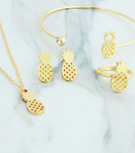 Monica Pineapple Golden Jewellery Set - RHIZMALL.PK Online Shopping Store.