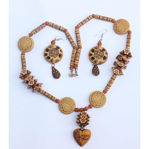 Boho Wooden Hand Made Necklace & Earring