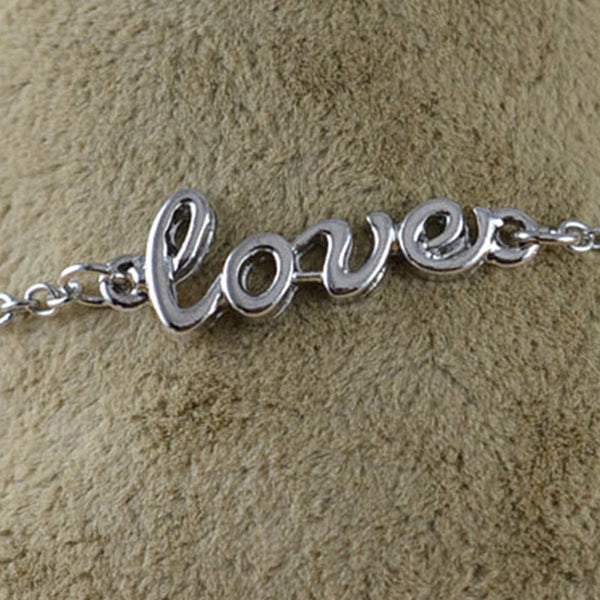 Silver Love Chain Anklet - RHIZMALL.PK Online Shopping Store.