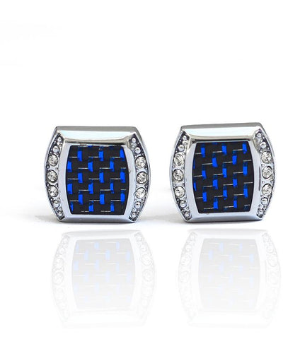 Aqua Blue Cufflink Stainless Steel Stud with Gift Packaging - RHIZMALL.PK Online Shopping Store.