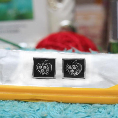 Apple Cufflink Stainless Steel Stud - Gift Packaging - RHIZMALL.PK Online Shopping Store.