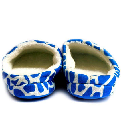 Zebra Pattern Light Blue Warm Woolen Foam Slippers