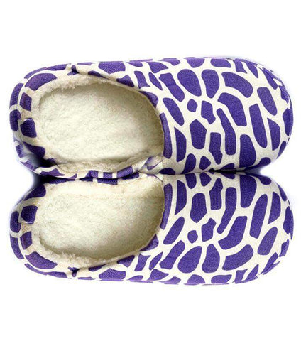 Zebra Pattern Purple Warm Woolen Foam Slippers