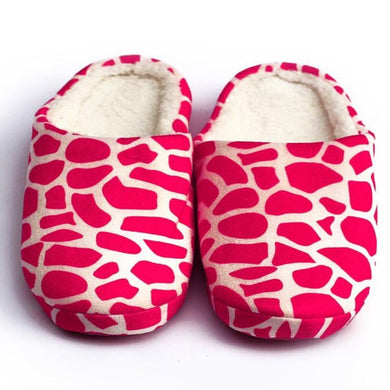 Zebra Pattern Pink Warm Woolen Foam Slippers - RHIZMALL.PK Online Shopping Store.