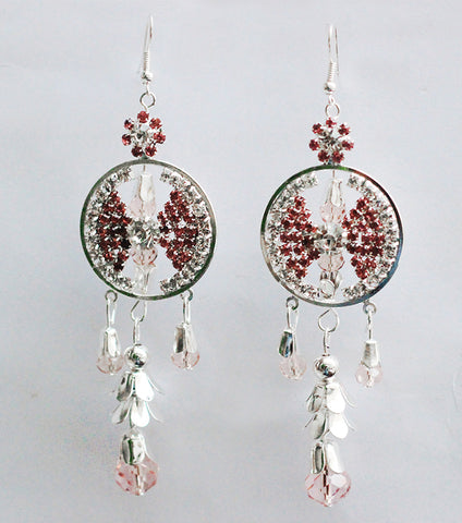 Beneta Triple  Silver Crystal Drop Earring - RHIZMALL.PK Online Shopping Store.