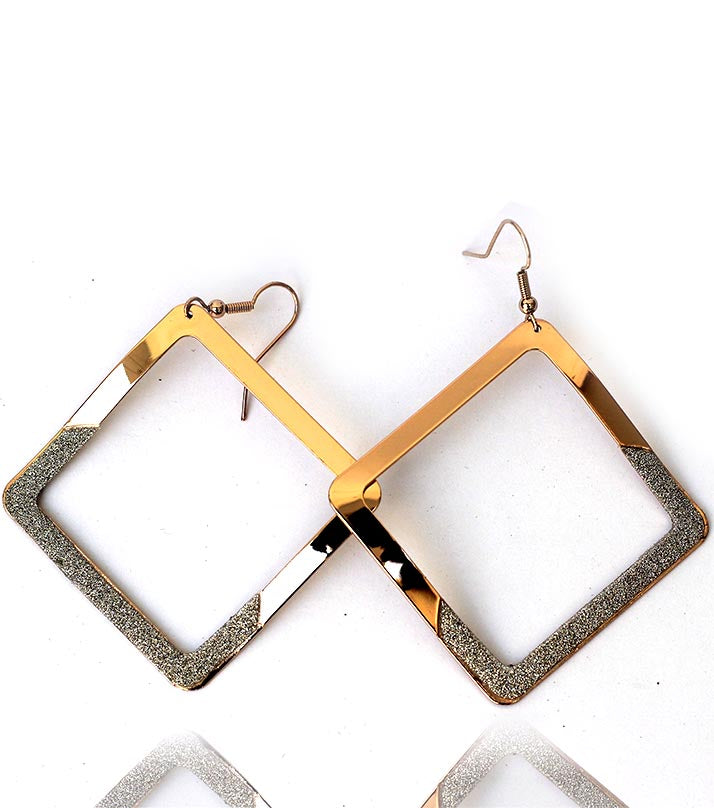 RoseGold Square Drop Earring - RHIZMALL.PK Online Shopping Store.