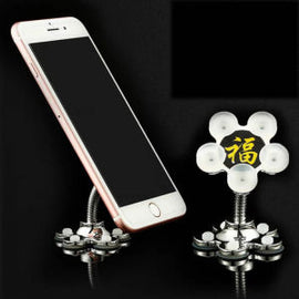 Mobile Holder Magic Stand,360 degree Rotation Double-Sided Suction Cup,Multi-function Metal Flower Magic Phone Desk Stand - RHIZMALL.PK Online Shopping Store.