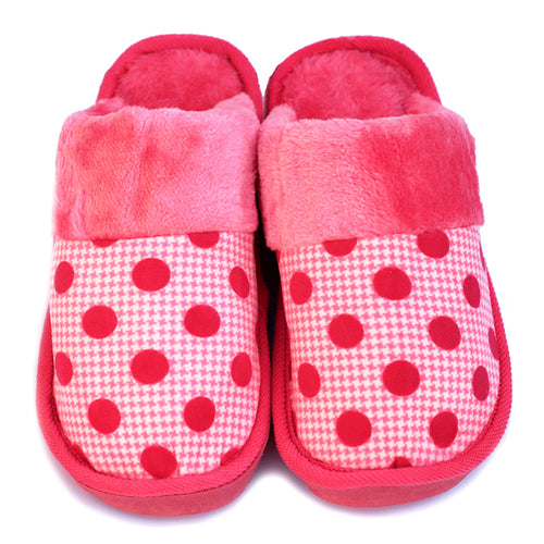 Polka Dot Pink Woolen Warm Slippers - RHIZMALL.PK Online Shopping Store.