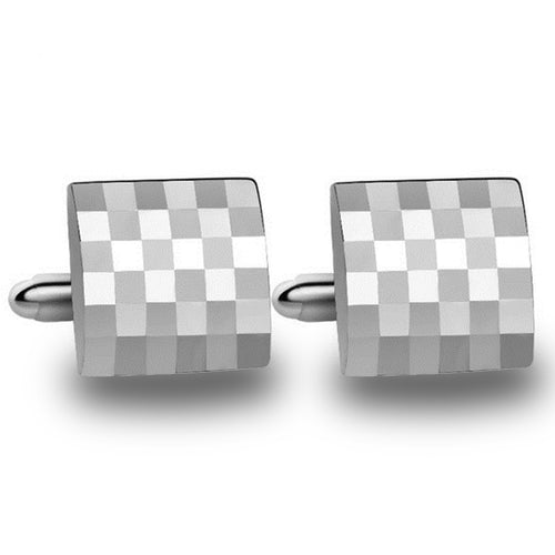 Square Tetris Sterling Silver American Style Cufflinks