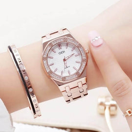 GEDI Brand New Women's Luxury Rose Gold Watch - RHIZMALL.PK Online Shopping Store.