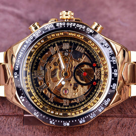 Bezel Number Gold Skeleton Watch - RHIZMALL.PK Online Shopping Store.
