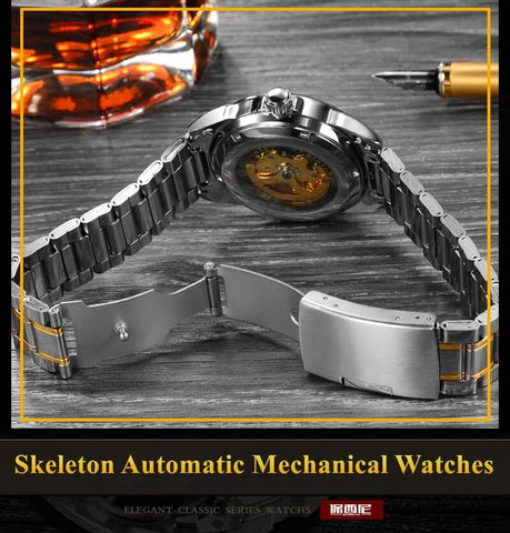 Men Skeleton Gold Watch Automatic Mechanical - RHIZMALL.PK Online Shopping Store.