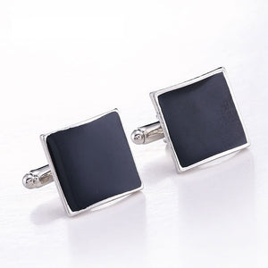 French Toast Europen Style Elegant Silver Black Cufflinks