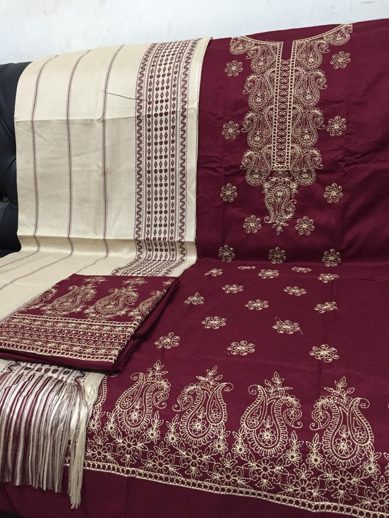 BurGundy Botique Unstitched Embroidery Suit - RHIZMALL.PK Online Shopping Store.