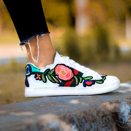 White Floral Breathable Sneakers - RHIZMALL.PK Online Shopping Store.
