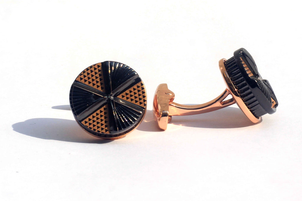 Golden Tri Wheel Cufflinks with Free Gift Packaging. - RHIZMALL.PK Online Shopping Store.