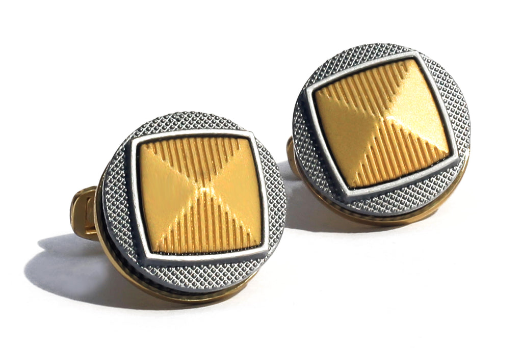 Gunmetal Gear High Quality Gold Cufflink - RHIZMALL.PK Online Shopping Store.