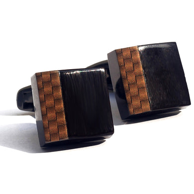 Brushed Wooden Tetris Luxury Cufflink - RHIZMALL.PK Online Shopping Store.