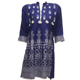 Navy Berry straight kurti - RHIZMALL.PK Online Shopping Store.