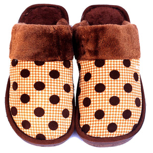 Polka Dot Brown Woolen Warm Slippers - RHIZMALL.PK Online Shopping Store.